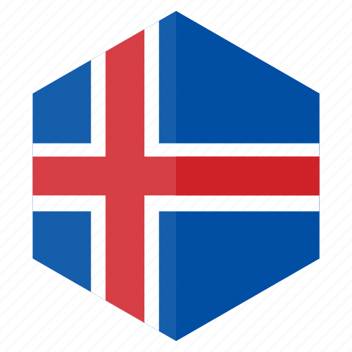 country, design, europe, flag, hexagon, iceland icon