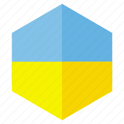 country, design, europe, flag, hexagon, ukraine icon