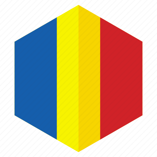 country, design, europe, flag, hexagon, romania icon