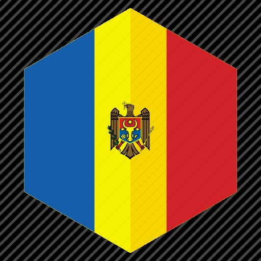 country, design, europe, flag, hexagon, moldova icon