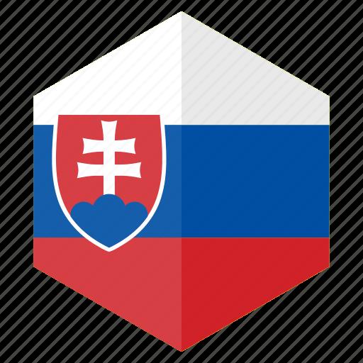 country, design, europe, flag, hexagon, slovakia icon