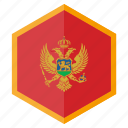 country, design, europe, flag, hexagon, montenegro icon
