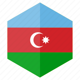 azerbaijan, country, design, europe, flag, hexagon icon