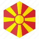 country, design, europe, flag, hexagon, macedonia icon
