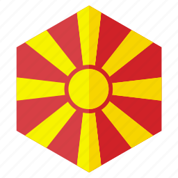 country, design, europe, flag, hexagon, macedonia icon