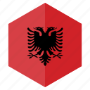 albania, country, design, europe, flag, hexagon icon