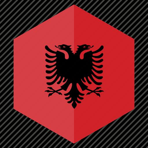 albania, country, design, europe, flag, hexagon icon
