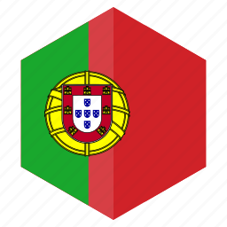 country, design, europe, flag, hexagon, portugal icon