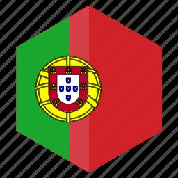 country, design, europe, flag, hexagon, portugal icon
