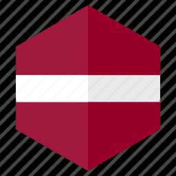country, design, europe, flag, hexagon, latvia icon
