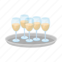 alcohol, champagne, drink, glass, party, tray, wine icon