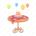 balloons, birthday, cake, dessert, food, table, wedding icon