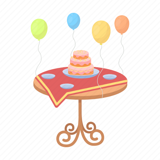 Balloons Birthday Cake Dessert Food Table Wedding Icon