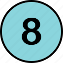 eight, lucky, number icon