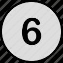menu, music, number, six, track icon