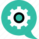 chat, conversation, gear, options, settings, talk icon