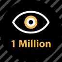 media, million, one, online, views, web icon
