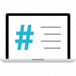hashtag, laptop, online, sign, twitter, website icon