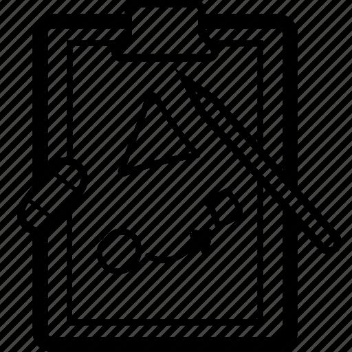 clipboard, design, drawing, eraser, illustration, paper, pencil icon