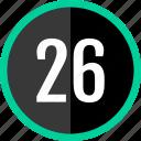 chart, twenty, six, count, number icon