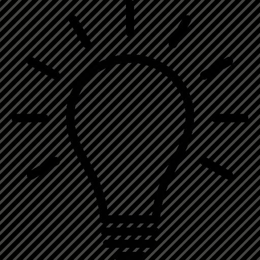 bulb, idea, incandescent, light, lightbulb, on, vintage icon