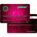 bank, card, credit, finance, magenta, payment, plactic, realistic icon