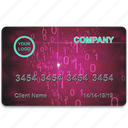 bank, business, card, credit, economy, finance, magenta icon