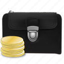 business, cash, cent, coins, economy, finances, leather, market, money, payment, realistic, shopping, stack, wallet, wealth icon