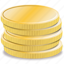 business, cash, coins, currency, economy, finance, golden, money, rich, stack, stacked, treasure, wealth icon