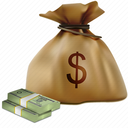 bag, brown, business, cash, currency, money, sack icon