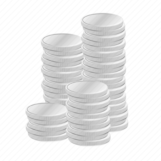 business, cash, cent, coins, currency, economy, finance, money, rich, silver, stack, stacked, treasure, wealth icon