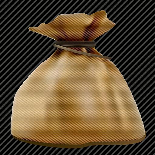 bag, brown, realistic, sack, tax icon