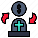 changing, death, exchange, exchanging, money icon