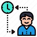 change, clock, exchanging, people, time icon