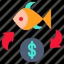 change, exchange, exchanging, fish, money icon