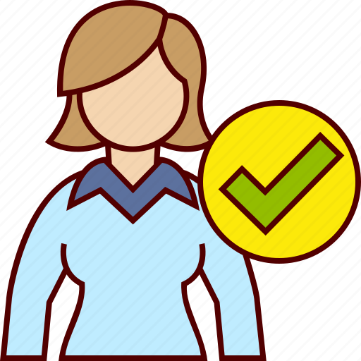 Approve, business, tick, woman icon - Download on Iconfinder