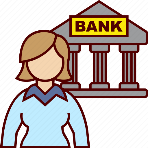bank, banking, business, woman icon