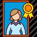best, employee, executive, frame, woman icon