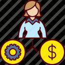 business, gear, job, money, woman icon