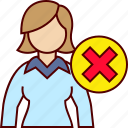 business, delete, woman, wrong icon