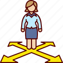 alternatives, arrow, decision, direction, woman icon