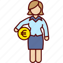 administration, business, euro, money, woman