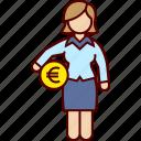 administration, business, euro, money, woman icon