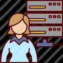 data, database, executive, woman icon