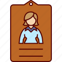 business, card, employee, id, woman icon
