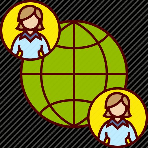 business, globe, international, job, offshore, woman icon