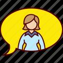 ballon, conversation, executive, text, woman