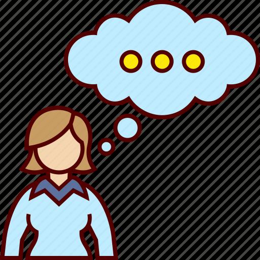 business, executive, thinking, woman icon