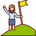 flag, goal, mountain, top, woman