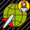 business, globe, plane, travel, woman icon